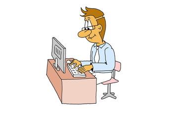 Geschäftsmann am Computer im Büro, Karikatur