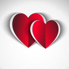 two red Heart paper sticker with shadow effect