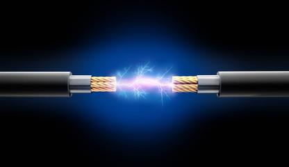 Zwei Kabel mit Funkenschlag