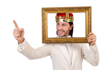 King with picture frame on white