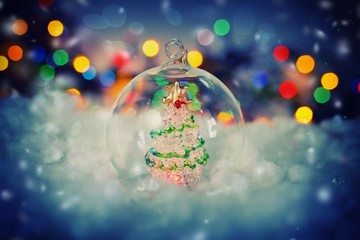 Christmas background with transparent ball