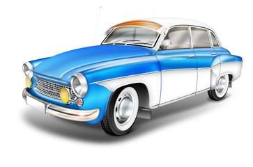 DDR Oldtimer aus den 60er Jahren - Wartburg 311 blau-weiss