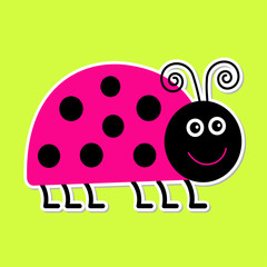 Cute cartoon pink lady bug. Isolated.