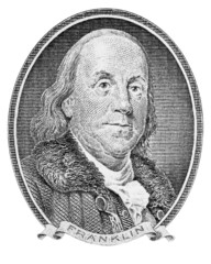 Benjamin Franklin. Isolated on white. Clipping path