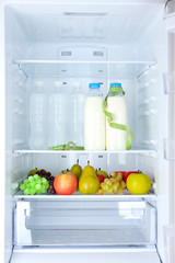 Conceptual photo of diet: healthy food in refrigerator