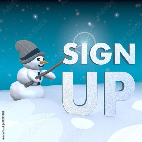 Snowman With Magic Wand And Sign Up Symbol Stock Photo And Royalty