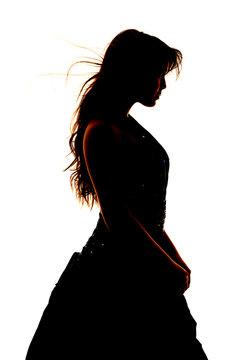 Woman silhouette formal dress close