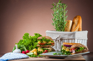 Colorful sandwich concept with vegetables