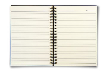 Blank Notebook isolated on the white background.