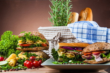Organic, healthy food with sandwich