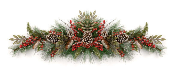 Christmas garland decorated with pine cones and red berries