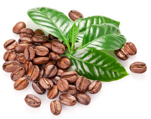 Roasted coffee beans and leaves.