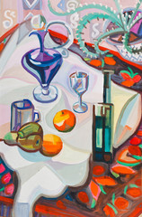 Still-life with violet decanter
