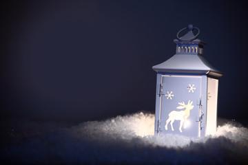 Christmas lantern shining in the night