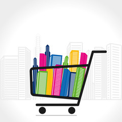 shopping trolley with full of color building vector