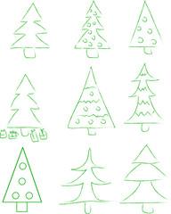Set of 9 new-year tree