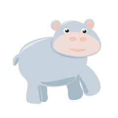 Happy hippo vector illustration isolated on white background