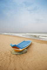 Fishing boat on the beach, Chennai, Tamil Nadu, India