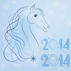 Symbol of the New Year 2014 blue horse vector