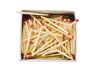 Close-up of an open matchbox with matchsticks