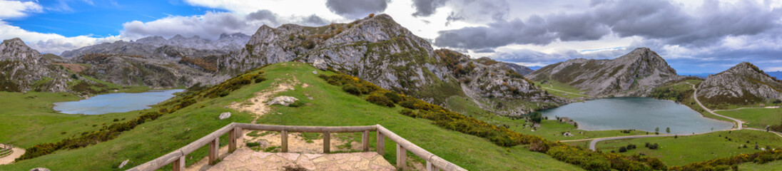 Panoramic of the Covadonga lakes, Enol and Ercina in Asturias