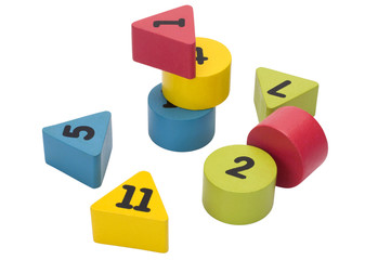 Close-up of number blocks in geometric shapes