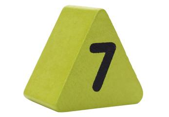 Number 7 in a triangular shape block