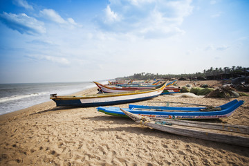 Fishing boats on the beach, Pondicherry, India