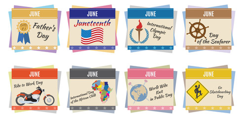 World holidays. June