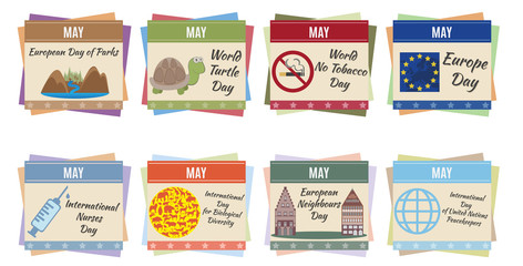 World holidays. May