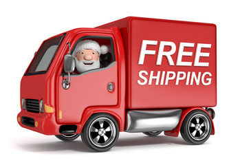 3d cartoon santa claus in free shipping truck - isolated