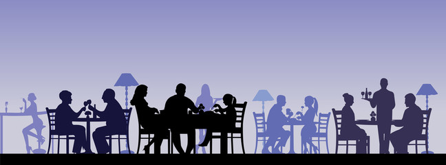 Silhouette of people eating in a restaurant layered