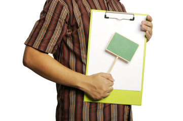 Man Holding Clipboard With Wooden Sign
