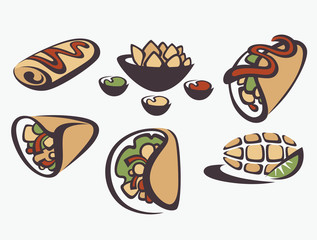 vector collection of traditional mexican fast food