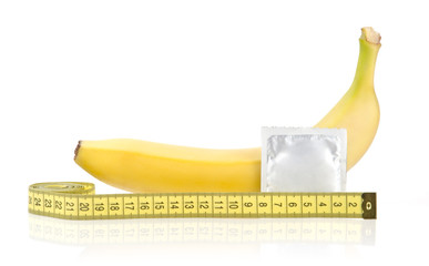 Yellow Banana with Condom and Measuring Tape