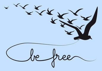 be free text with flying birds, vector
