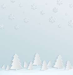 Winter holiday background. Paper background with Christmas trees