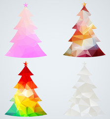 Set of Christmas trees. Geometric holiday decorations