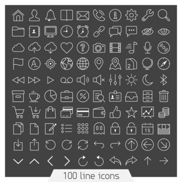 100 line icons for Web and Mobile. Dark version.