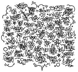 Multiple urban art and graffiti tags, slogans. Vector