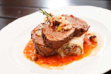 steak with beer