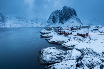 Autocollant pour porte Pôle lofoten island during winter time