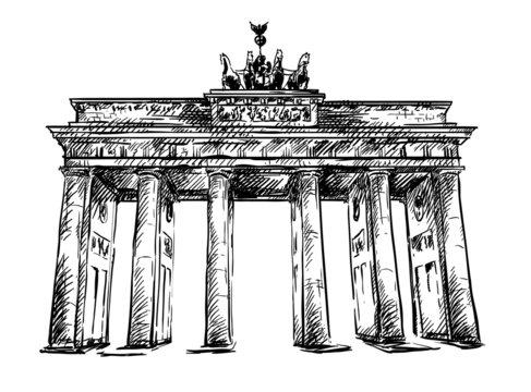Brandenburg Gate. Vector sketch.