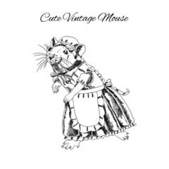 Cute mouse sketch vintage style