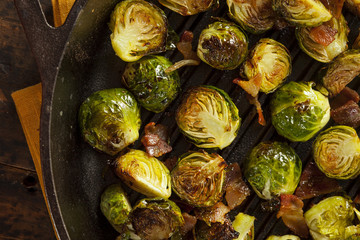 Acrylic Prints Brussels Homemade Grilled Brussel Sprouts