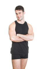 Healthy young man with towel isolated