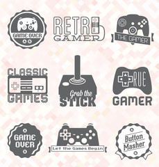 Vector Set: Retro Video Game Labels and Icons