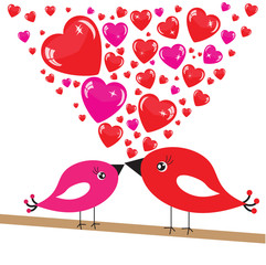 Valentine's background with birds and hearts