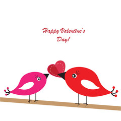 Valentine's background with birds and heart