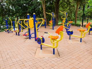 Colorful of outdoor fitness equipment.